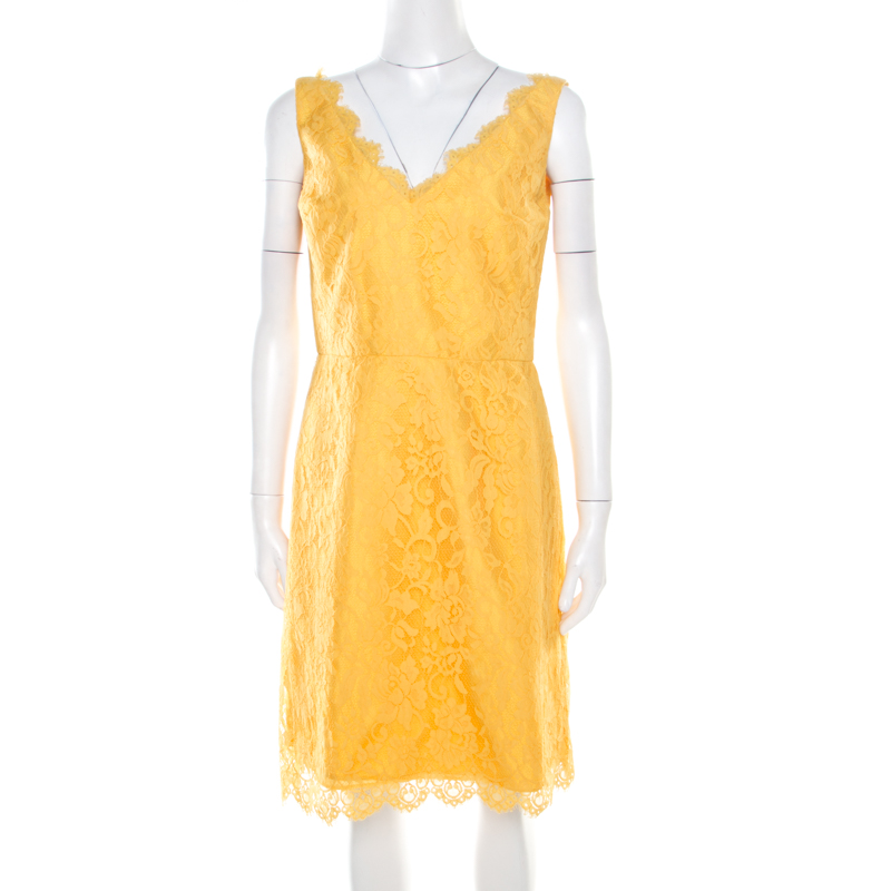 Pre-owned Monique Lhuillier ml By  Yellow Floral Lace Scalloped Trim Detail V-neck Dress M