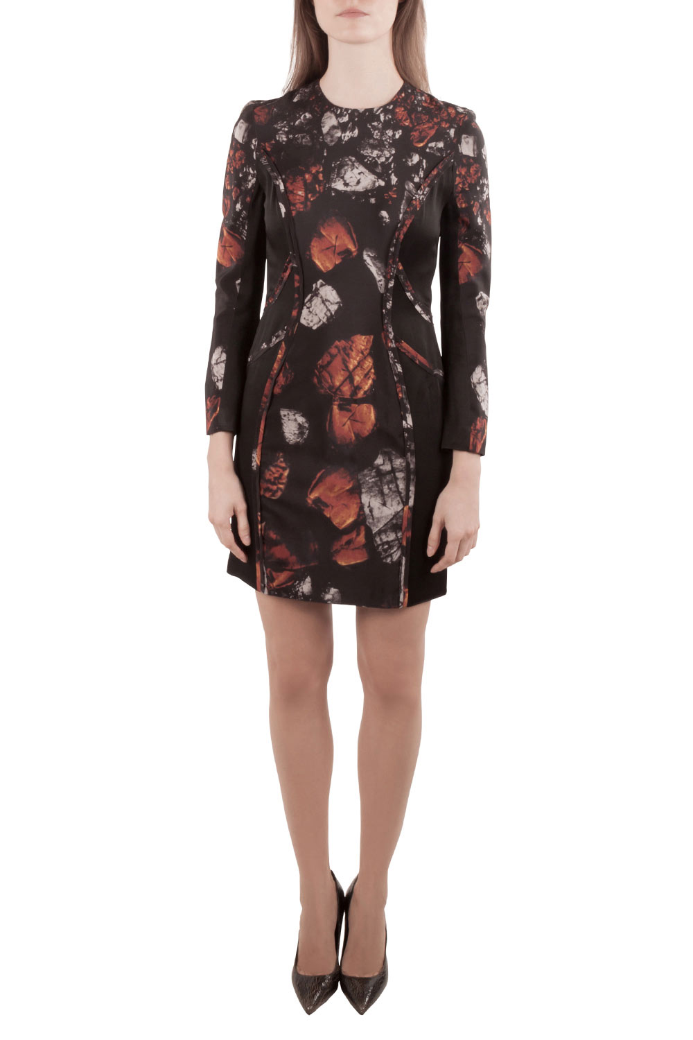 Pre-owned Monique Lhuillier Black Abstract Print Silk Blend Long Sleeve Sheath Dress S