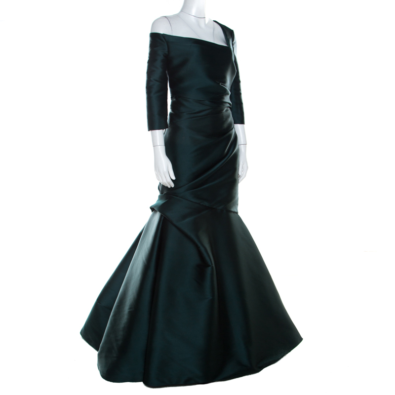 Monique Lhuillier Emerald Green Silk Satin Asymmetric Sleeve Evening Gown