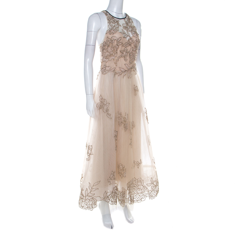 Monique Lhuillier Beige Tulle Sequin Embellished Evening Dress