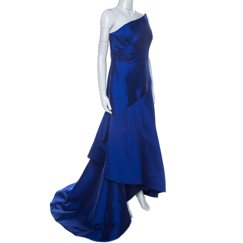 ML Monique Lhuillier Blue Beaded Detail Faille Trumpet Gown