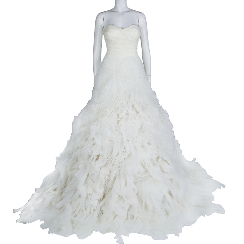 Monique Lhuillier F/W 2014 Skye Strapless Silk Organza Wedding Dress, White