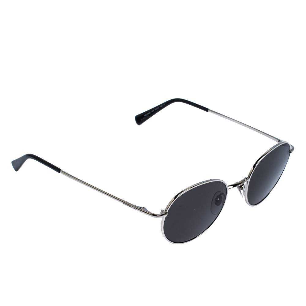 Montblanc Silver Tone /Smoke Grey MB-550S Round Sunglasses