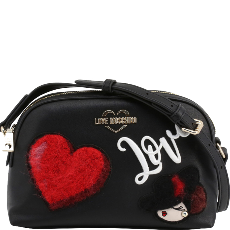 Love Moschino Black Faux Leather Applique Crossbody Bag