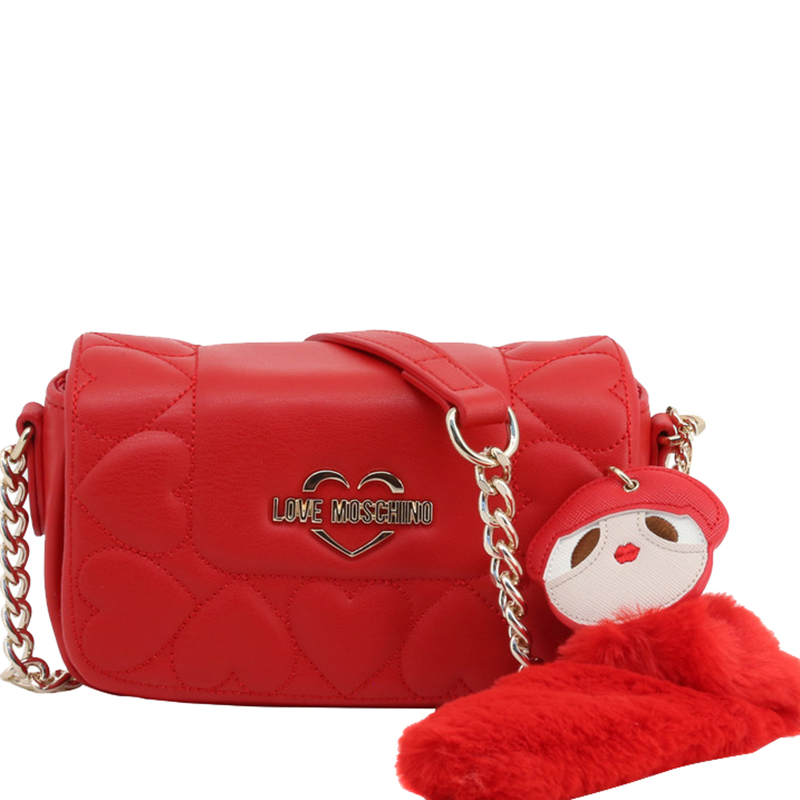 Love Moschino Red Faux Leather Heart Embossed Crossbody Bag