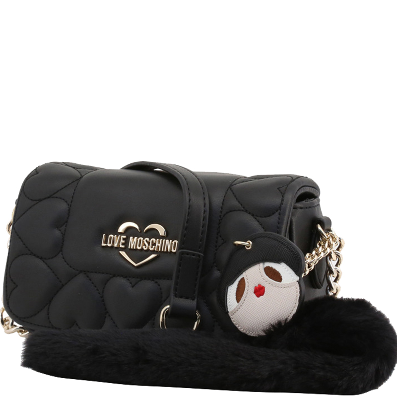 Love Moschino Black Faux Leather Heart Embossed Crossbody Bag