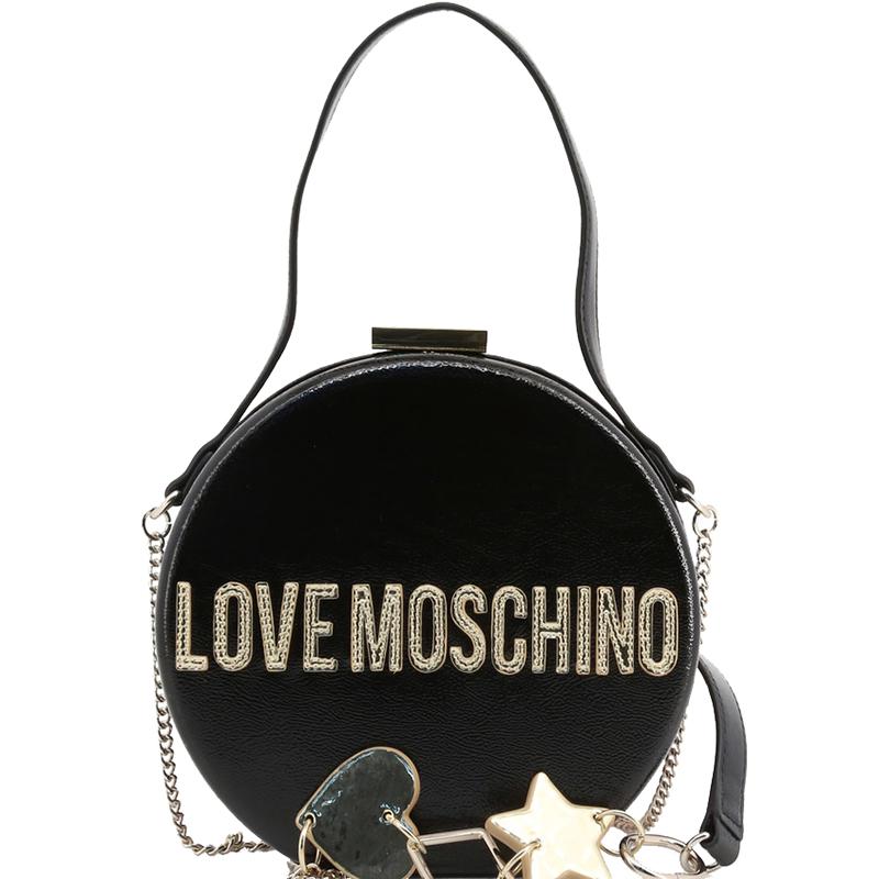 Love Moschino Black Faux Shiny Leather Round Crossbody Bag