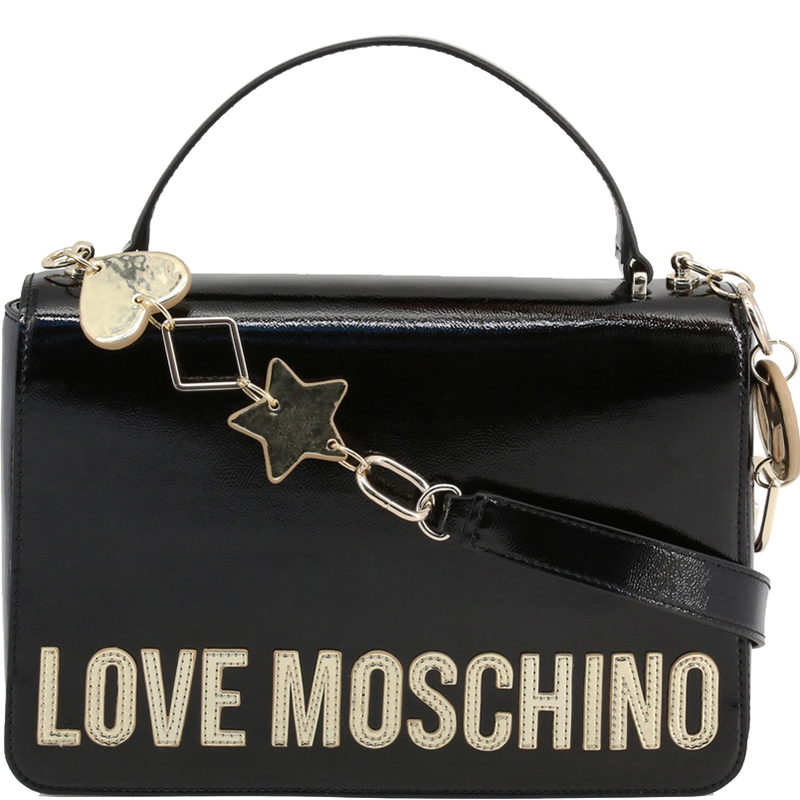 Love Moschino Black Faux Shiny Leather Top Handle Bag