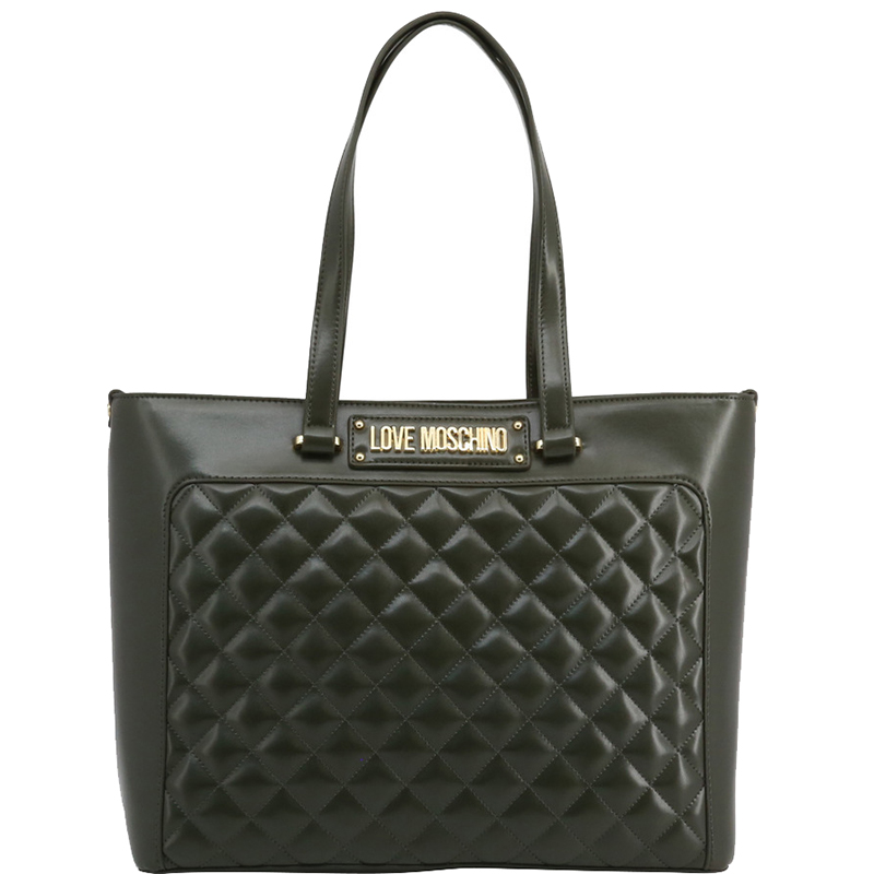 Love Moschino Dark Green Quilted Faux Leather Shopping Tote