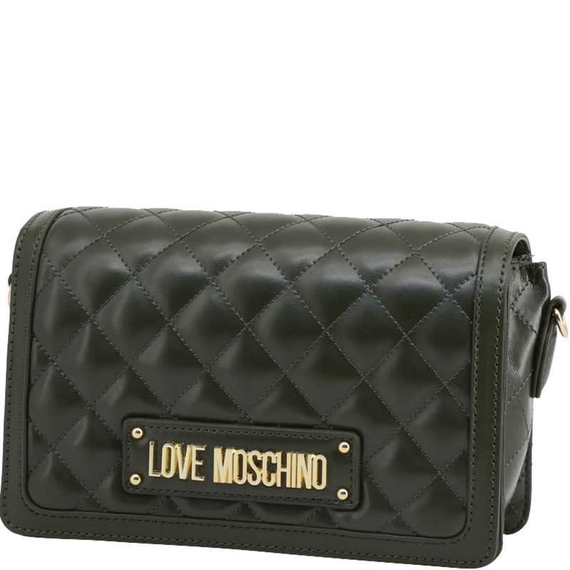 Love Moschino Dark Green Quilted Faux Leather Crossbody Bag