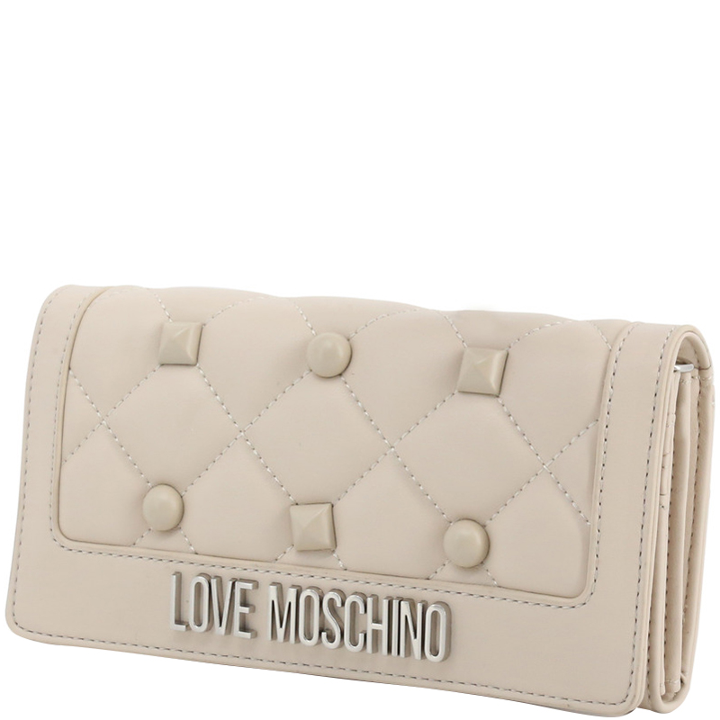 Love Moschino White Quilted Faux Leather Studded WOC Clutch Bag