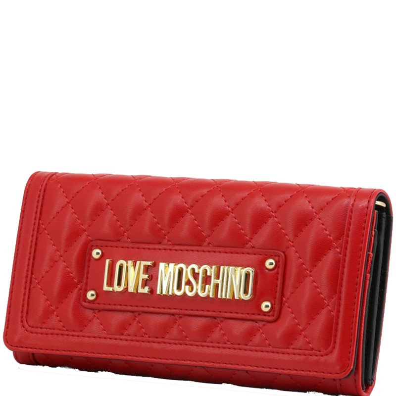 Love Moschino Red Quilted Faux Leather WOC Clutch Bag