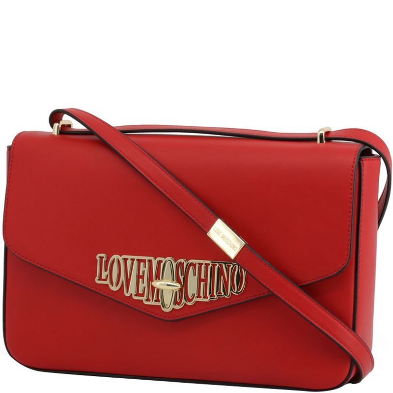 Love Moschino Red Faux Leather Crossbody Bag