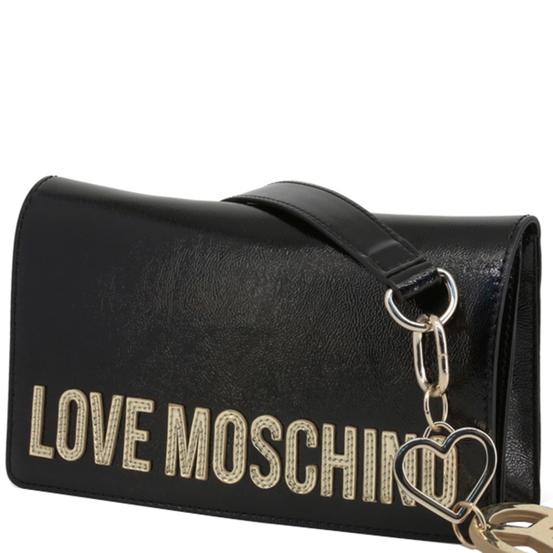 Love Moschino Black Faux Shiny Leather Crossbody Bag