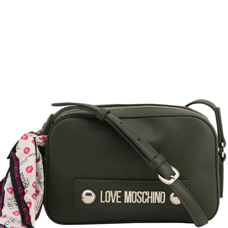 Love Moschino Dark Green Faux Leather Scarf Crossbody Bag
