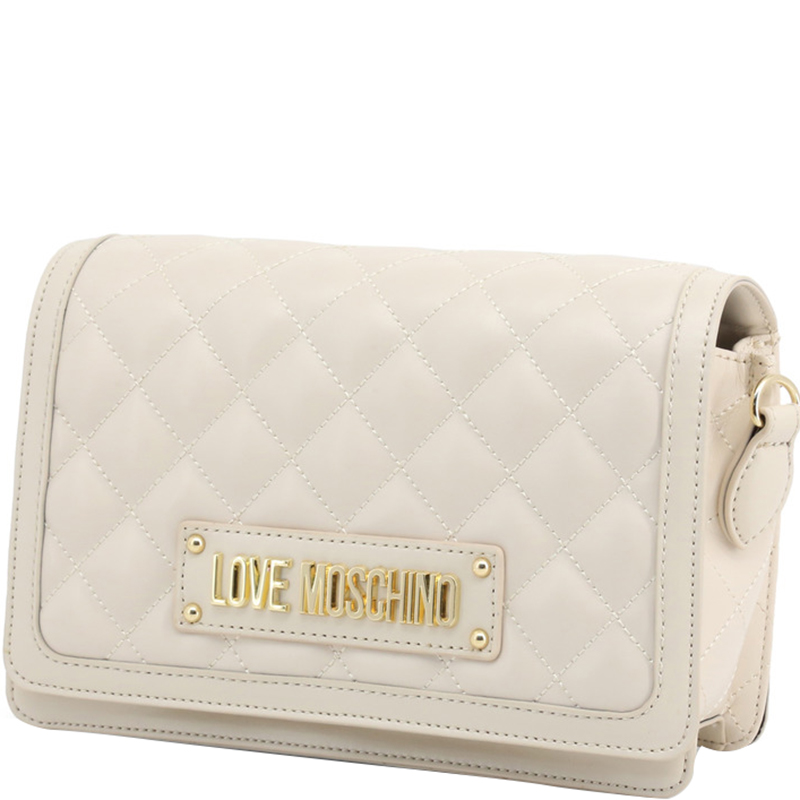 Love Moschino White Quilted Faux Leather Crossbody Bag