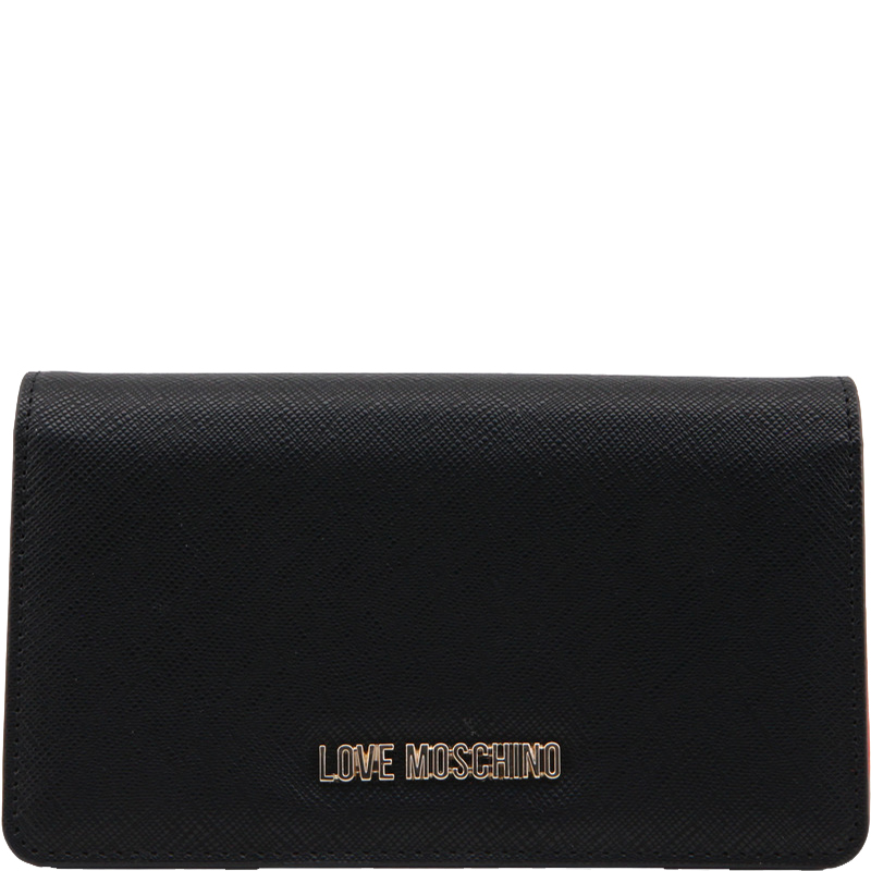 Love Moschino Black Faux Leather Flap Wallet