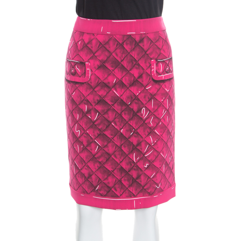 096c7d64863 Buy Moschino Couture Pink Trompe-L'oeil Printed Crepe Pencil Skirt M ...