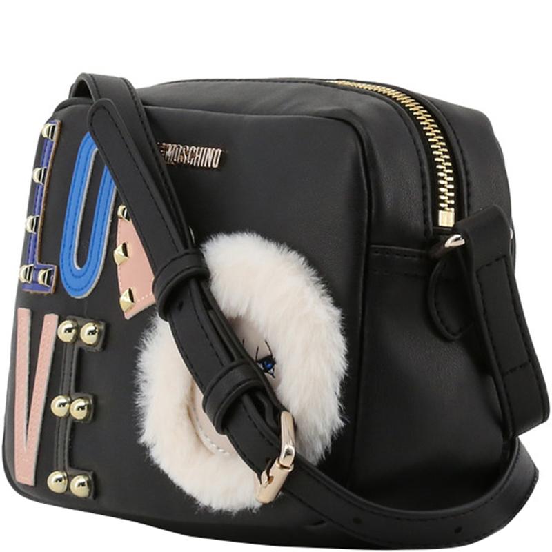 Love Moschino Black Leather LOVE Crossbody Bag