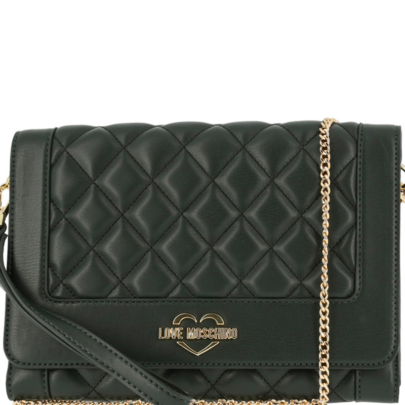7fc842618f85 ... Love Moschino Dark Green Quilted Leather Wristlet Chain Clutch Bag.  nextprev. prevnext
