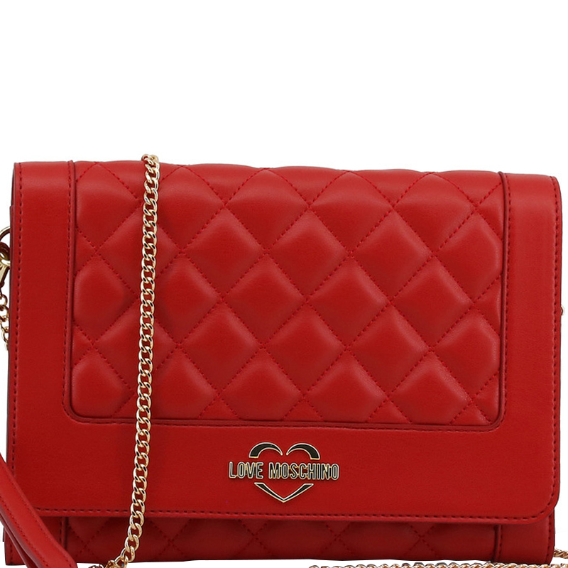 9575d8e2db Buy Love Moschino Red Quilted Leather Wristlet Chain Clutch Bag ...