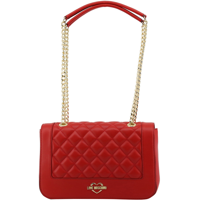 e46d91cba6aa69 Red Quilted Leather Handbag With Chain Strap - Foto Handbag All ...