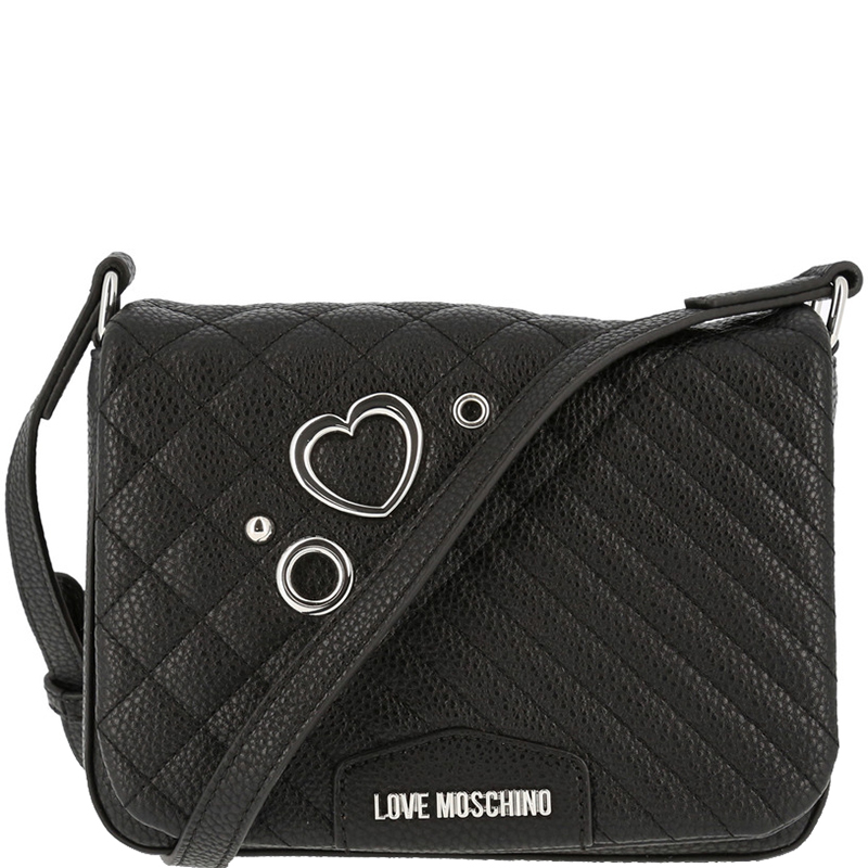 ef673423fb1d Buy Love Moschino Black Quilted Leather Crossbody Bag 157325 at best ...