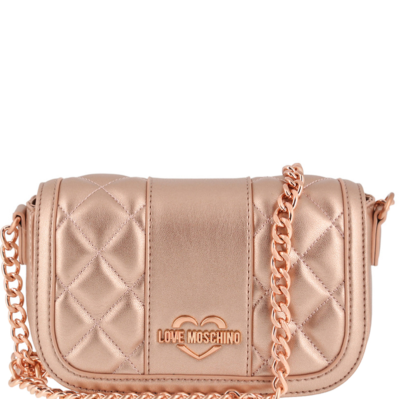 d1c115906e ... Love Moschino Metallic Pink Quilted Leather Chain Flap Bag. nextprev.  prevnext