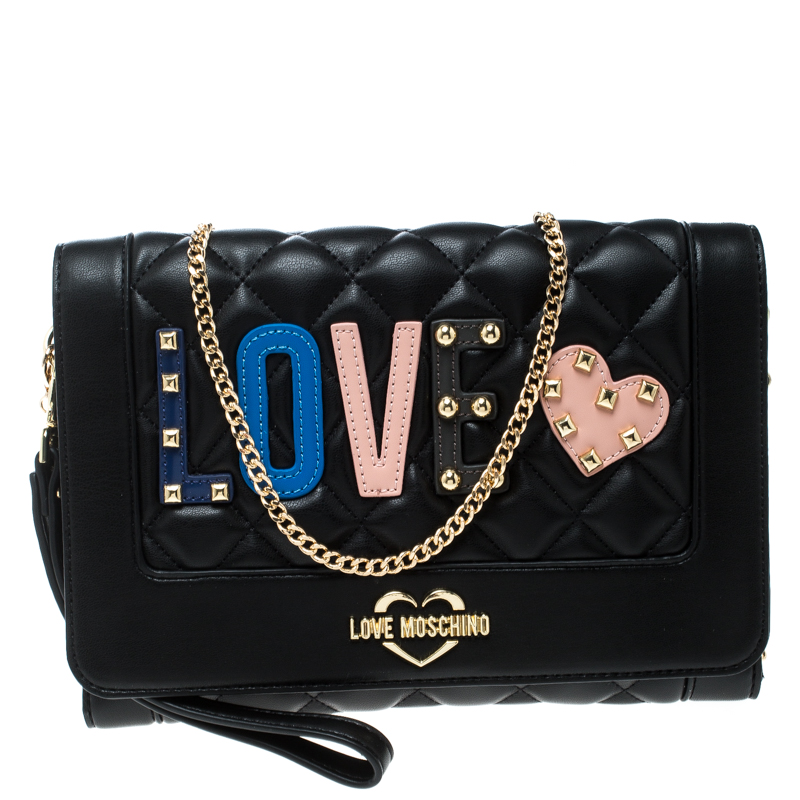 216ec36665e ... Shoulder Bag Nextprev Prevnext. Love Moschino Black Quilted Synthetic Leather  Chain Flap