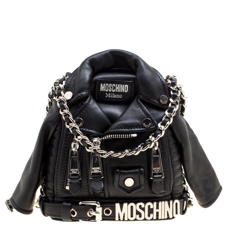 8c1fccb0b7a757 ... Moschino Black Leather Biker Jacket Shoulder Bag. nextprev. prevnext