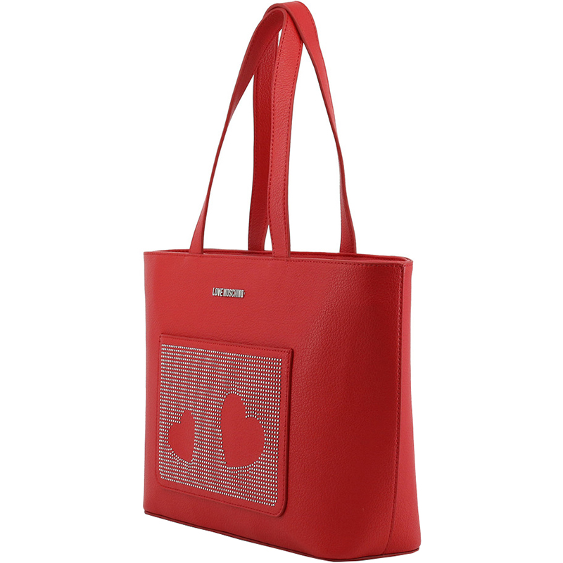 Love Moschino Red Faux Leather Studded Shopper Tote