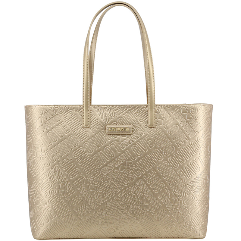 b7f4691c398 Love Moschino Metallic Yellow Embossed Faux Leather Logo Shopper Tote