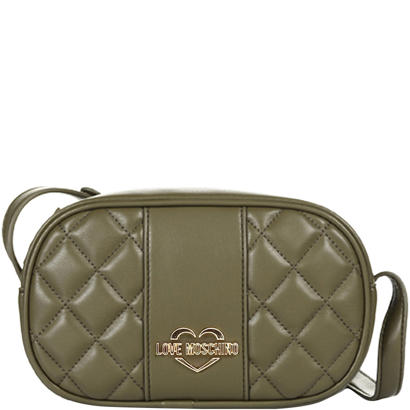 Love Moschino Green Quilted Faux Leather Camera Crossbody Bag