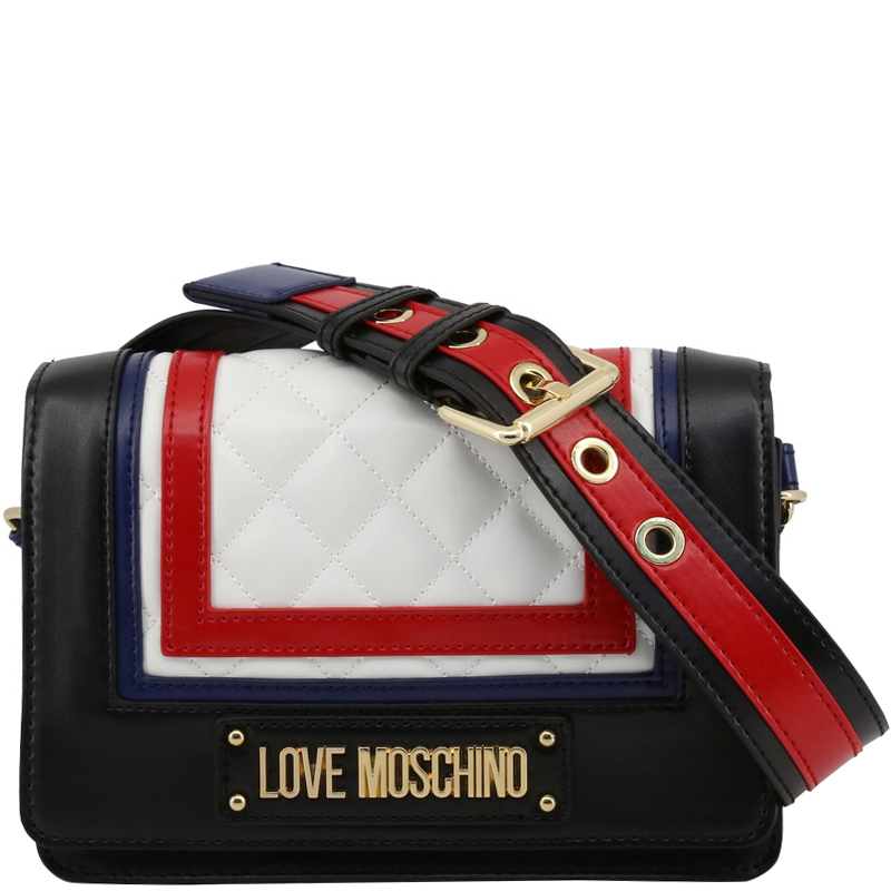 60% cheap clear-cut texture latest Love Moschino Multicolor Quilted Faux Leather Shoulder Bag