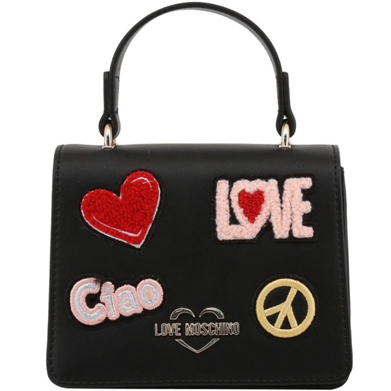 a73b8071cb ... Love Moschino Black Faux Leather Embellished Top Handle Bag. nextprev.  prevnext