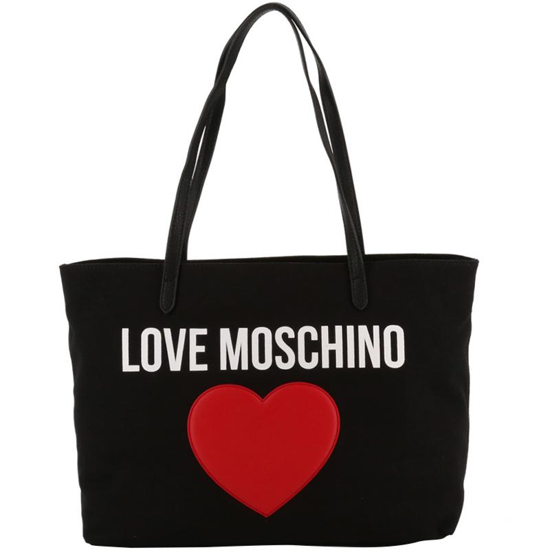 Buy Love Moschino Black Fabric Applique Shoulder Bag