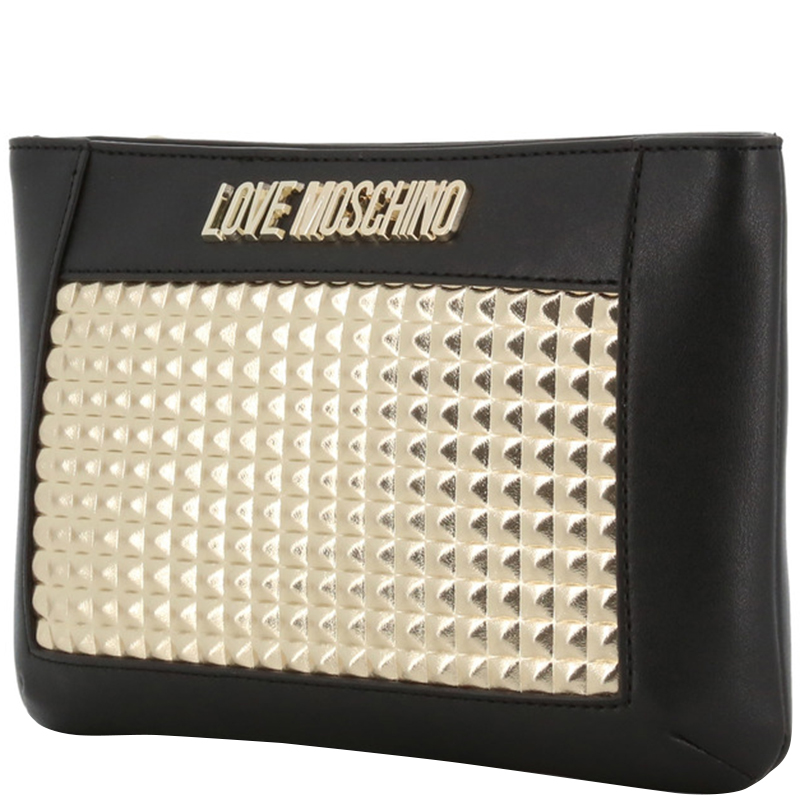 Love Moschino Black/Gold Faux Leather Crossbody Bag