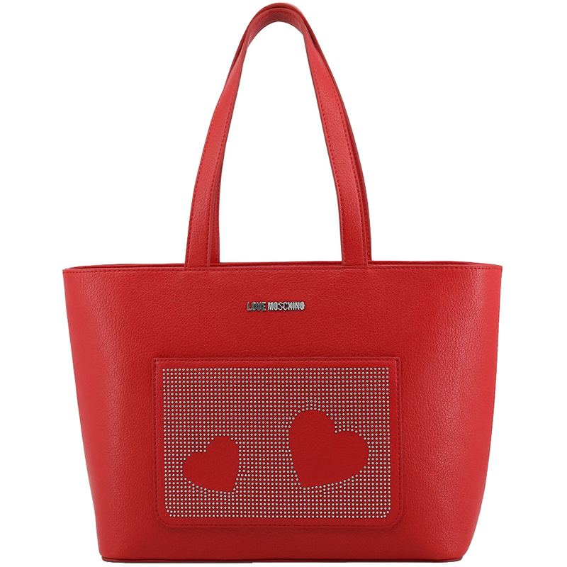 75257710c1 Love Moschino Red Faux Leather Studded Shopper Tote
