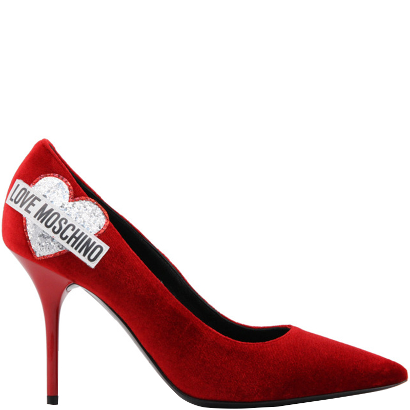 Love Moschino Red Velvet Pointed Toe Pumps Size 38