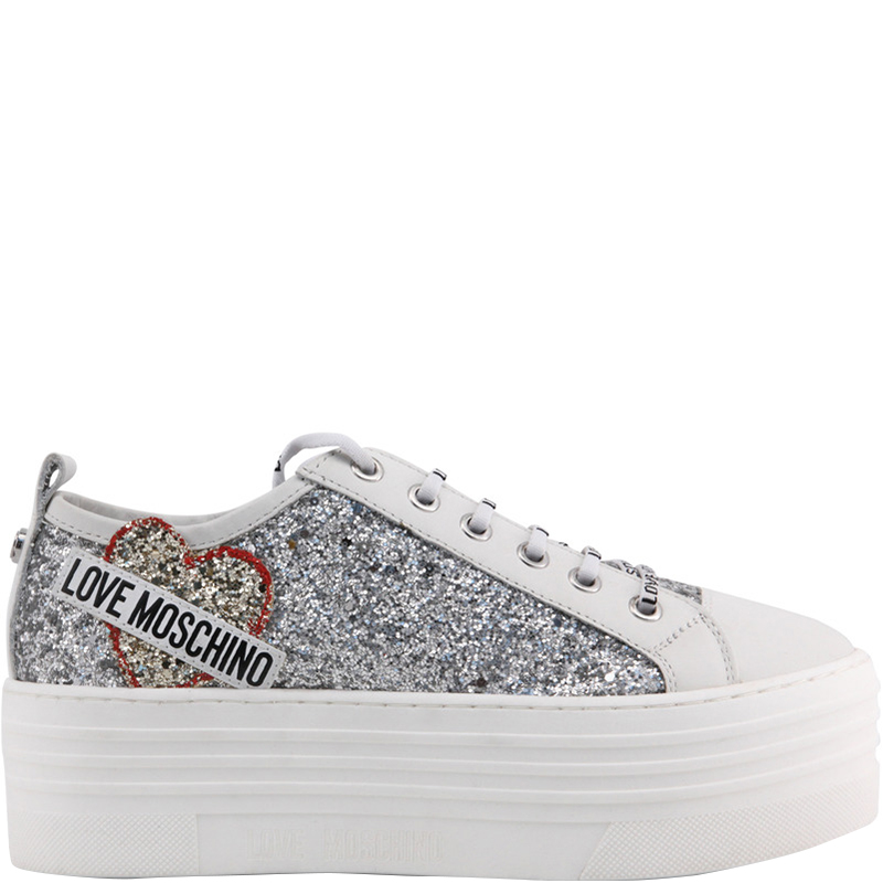 Love Moschino White Glitter and Leather Platform Sneakers Size 39
