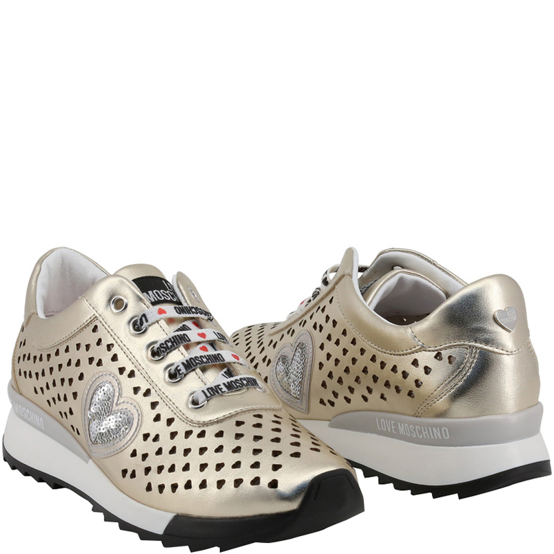 Love Moschino Metallic Beige Faux Heart Perforated Leather Platform Lace Up Sneakers Size