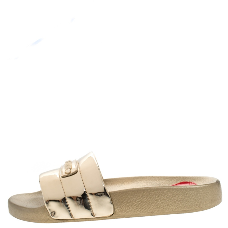 Love Moschino Metallic Gold Faux Leather Flat Slides Size, Beige