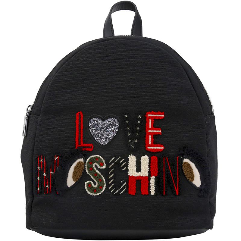 Купить со скидкой Love Moschino Black Canvas Logo Embroidered Backpack