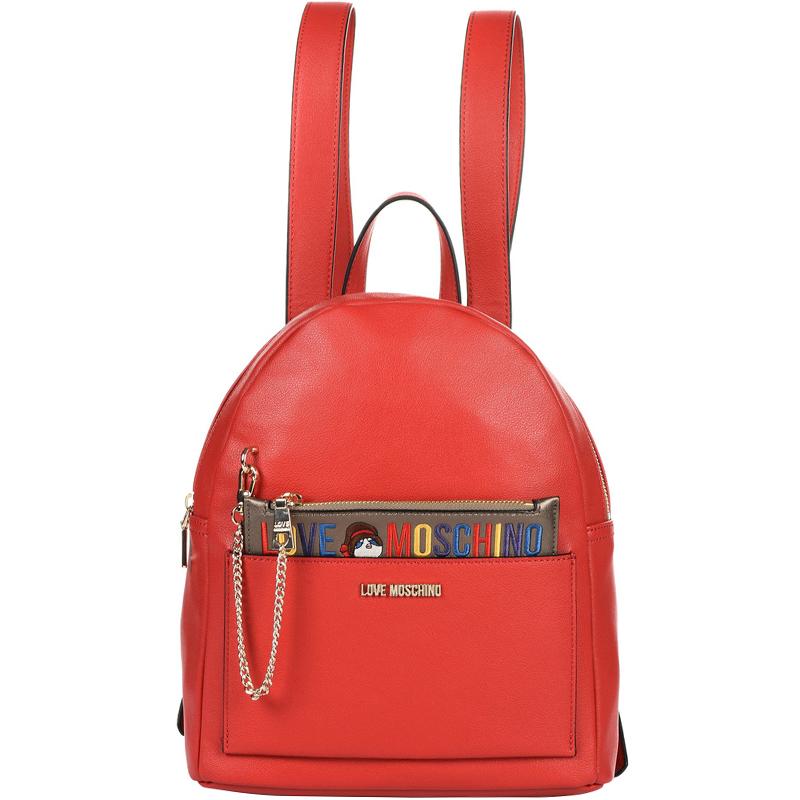 Купить со скидкой Love Moschino Red Faux Leather Backpack