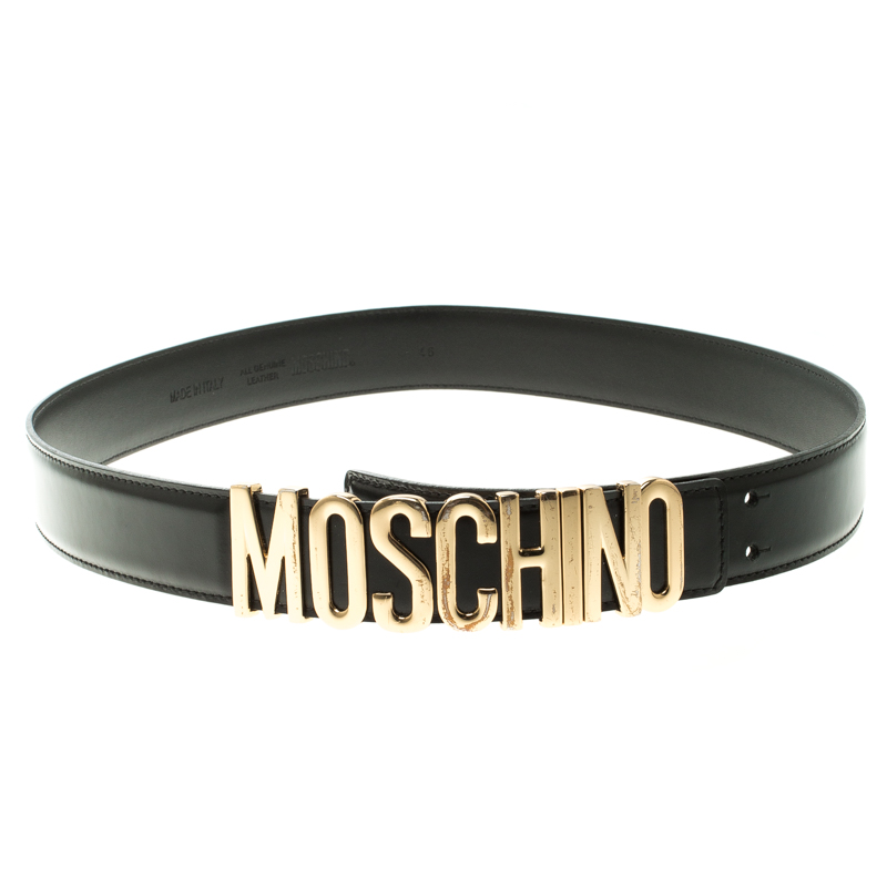 7f0fdc2e34c Buy Moschino Black Glossy Leather Logo Belt 115cm 119839 at best ...