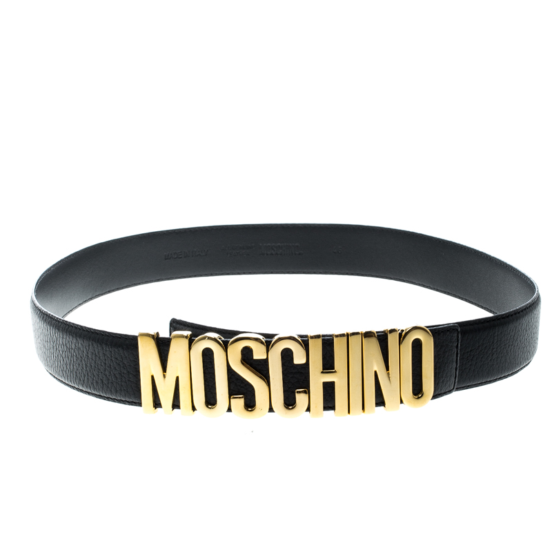 0e5baa3c01e ... Moschino Black Grain Leather Logo Belt 115cm. nextprev. prevnext