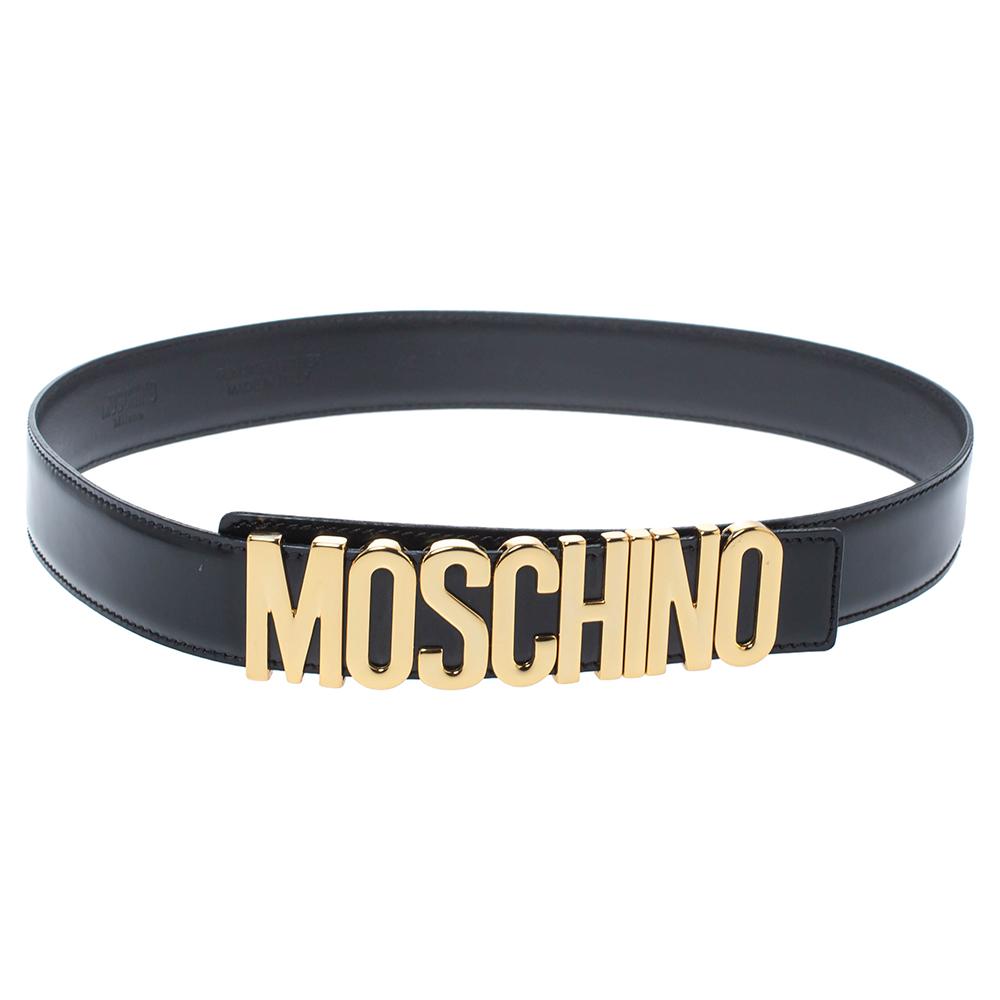 Moschino Black Patent Leather Redwall Logo Belt 85CM