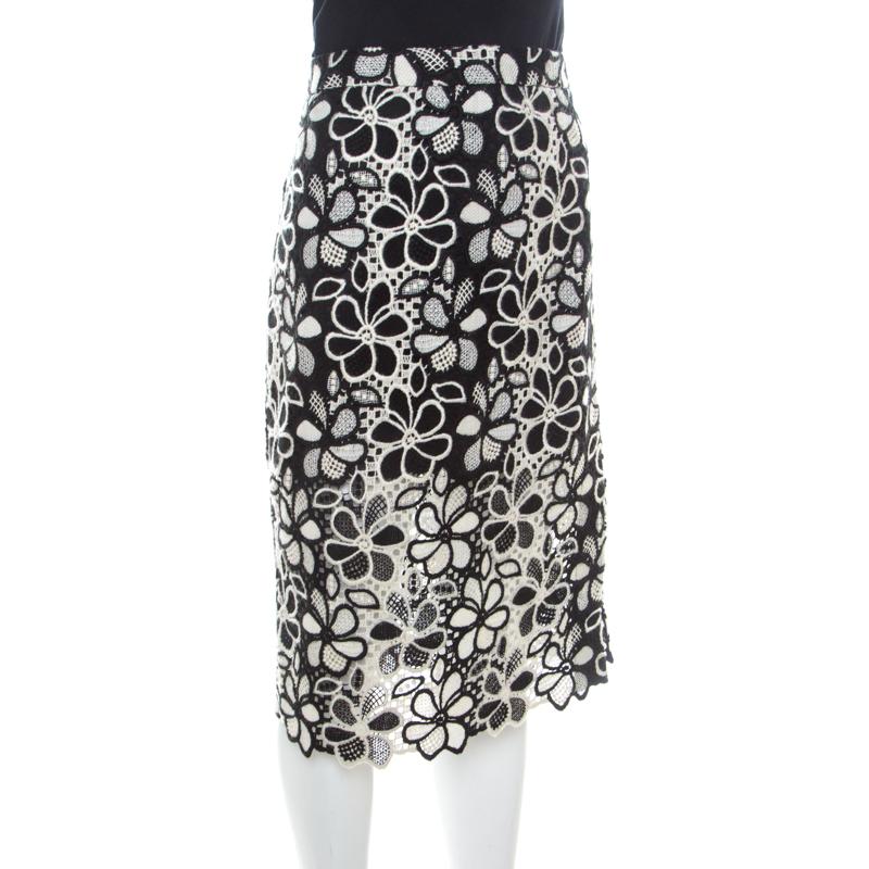 Boutique Moschino Monochrome Floral Lace Pencil Skirt, Multicolor