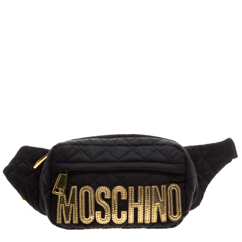 c6f7d6ff979 Buy Moschino Black Quilted Nylon Belt Bag 124903 at best price | TLC