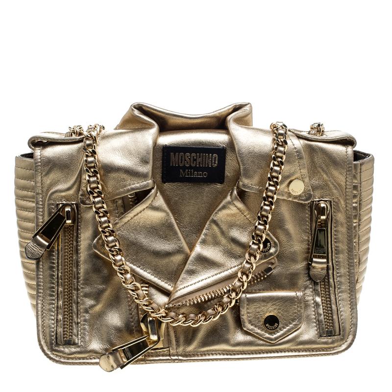 ac51fe818b5 Buy Moschino Gold Leather Large Capsule Biker Jacket Shoulder Bag ...